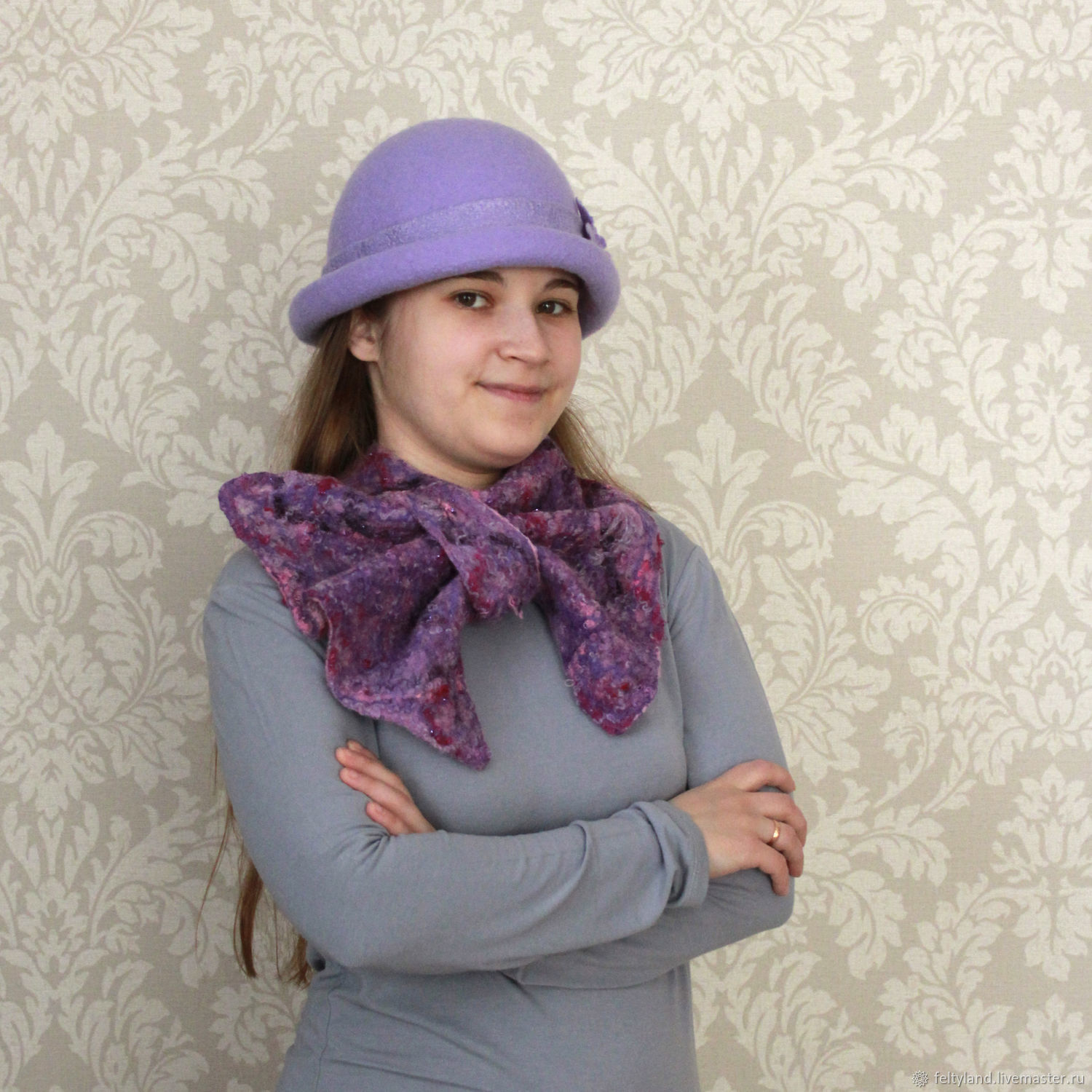 Scarf French scarf purple-pink, Scarves, Kemerovo,  Фото №1