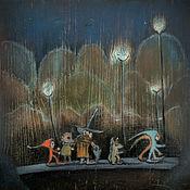 Картины и панно handmade. Livemaster - original item The procession with lights Oil painting the Painting in the nursery. Handmade.