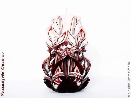 Свечи ручной работы. Ярмарка Мастеров - ручная работа. Купить Свеча резная ручной работы - коричневый бежевый -. Handmade. Коричневый