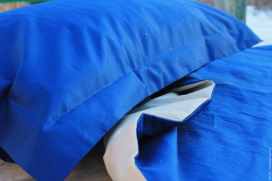 """Текстиль, ковры ручной работы. Ярмарка Мастеров - ручная работа. Купить Постельное белье из сатина премиум класса """"Яркий синий"""". Handmade."""