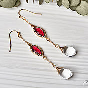 Украшения handmade. Livemaster - original item Long earrings with drops of Czech glass in 24K gold. Handmade.