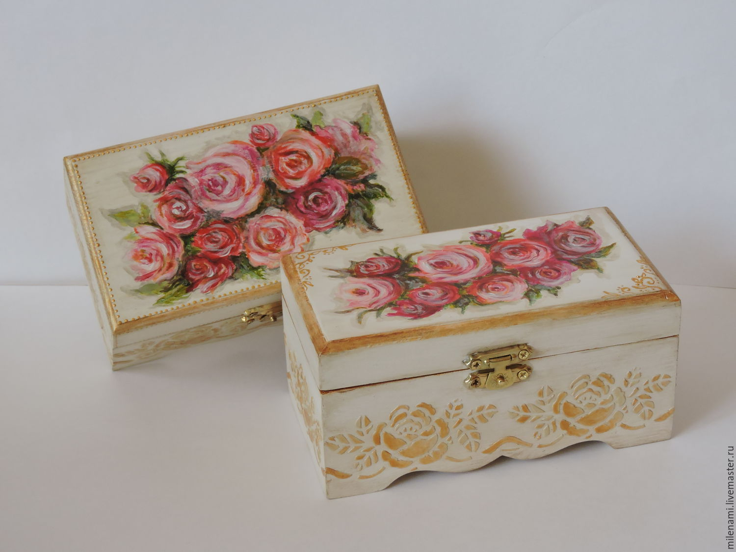 pink dreams jewelry box shabby chic hand painted shop online on livemaster with shipping. Black Bedroom Furniture Sets. Home Design Ideas