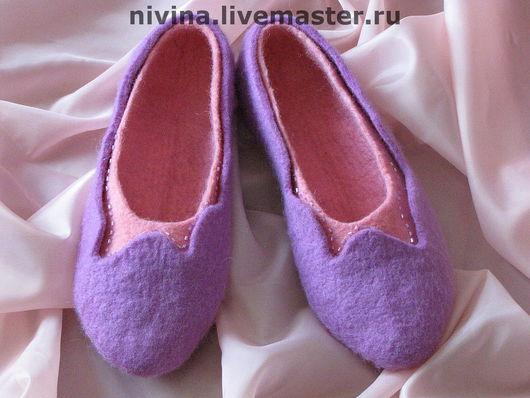 Обувь ручной работы. Ярмарка Мастеров - ручная работа. Купить тапочки розово-сиреневые.. Handmade. Сиреневый, войлок, шерсть