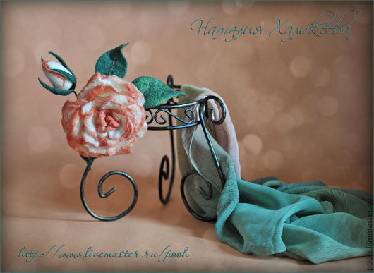 Броши ручной работы. Ярмарка Мастеров - ручная работа. Купить Украшение или декоративный Цветок Роза. Handmade. Валяние