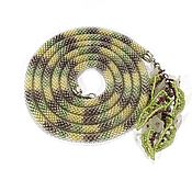 Украшения handmade. Livemaster - original item Lariat beaded yellow-green with tassels leaves. Handmade.