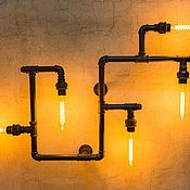 handmade. Livemaster - original item Wall lamp made of water pipes