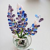 Для дома и интерьера ручной работы. Ярмарка Мастеров - ручная работа Букетик Лаванды 3 цветка цветное стекло фьюзинг. Handmade.