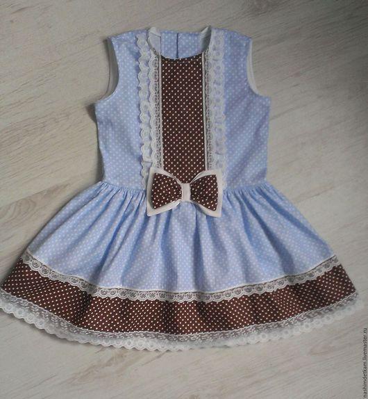 Одежда для девочек, ручной работы. Ярмарка Мастеров - ручная работа. Купить Платье в горошек с кружевом. Handmade. Комбинированный, платье с кружевом