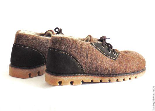 Обувь ручной работы. Ярмарка Мастеров - ручная работа. Купить Мужские валяные туфли для стопы 26 см, 41 российский размер.. Handmade.