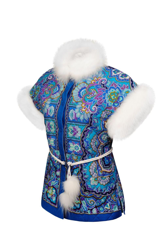 Утепленная жилетка из платка с мехом, Жилеты, Санкт-Петербург,  Фото №1