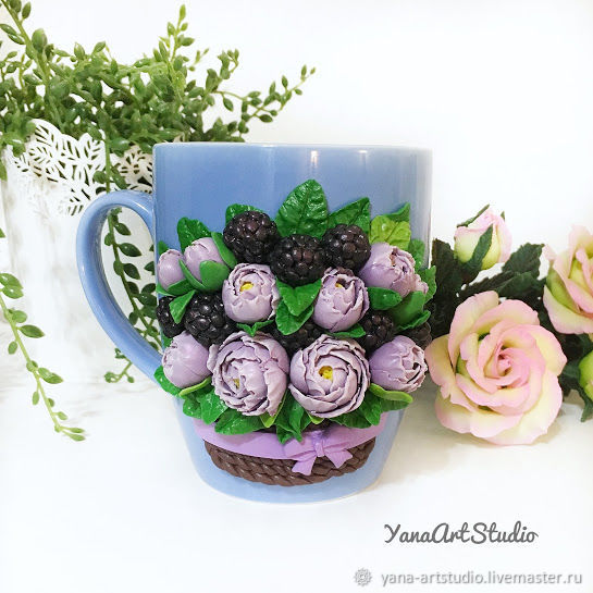 Delicious Mug with flowers and berries made of polymer clay, Mugs and cups, St. Petersburg,  Фото №1