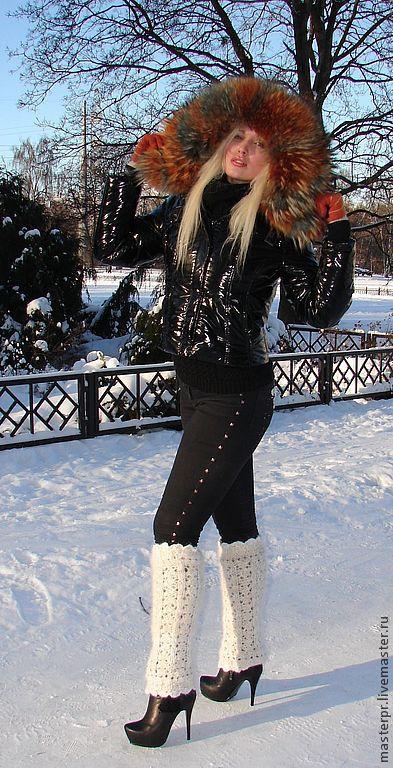 Leg warmers white crochet handmade  Very warm  Live thread  100% natural