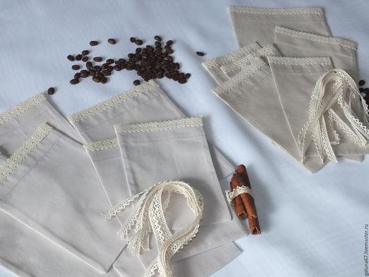 Кухня ручной работы. Ярмарка Мастеров - ручная работа. Купить Мешочки с кружевом, 1 набор. Handmade. Мешочки, мешочки для трав
