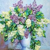 Картины и панно handmade. Livemaster - original item Embroidery lilac watercolor. Handmade.