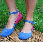 Обувь ручной работы handmade. Livemaster - original item Ballet shoes made of genuine suede Combi cornflower and fuchsia with strap. Handmade.