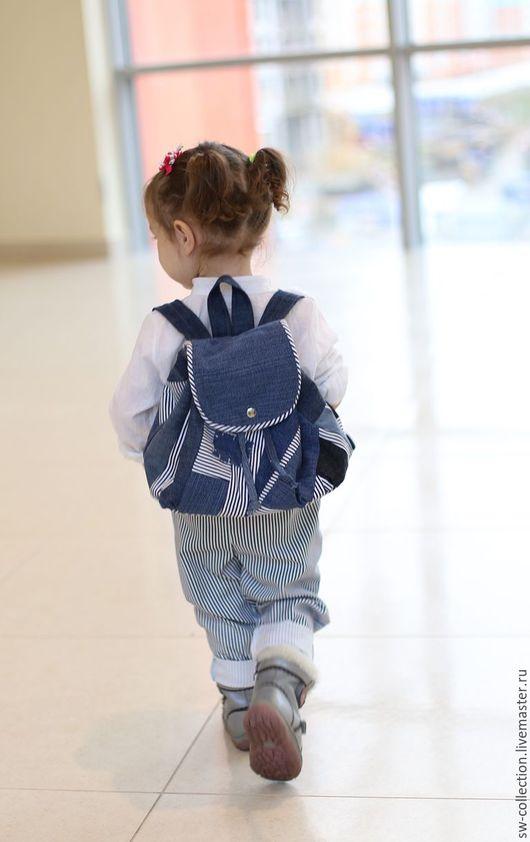 Рюкзаки ручной работы. Ярмарка Мастеров - ручная работа. Купить Маленький  рюкзак в лоскутной технике .. Handmade. Голубой, рюкзак для девочки
