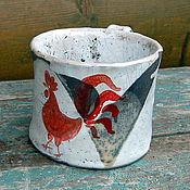Посуда ручной работы. Ярмарка Мастеров - ручная работа Чашка керамическая раку  Красный петух 2. Handmade.