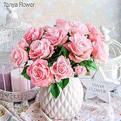 Букет розовых роз ручной работы