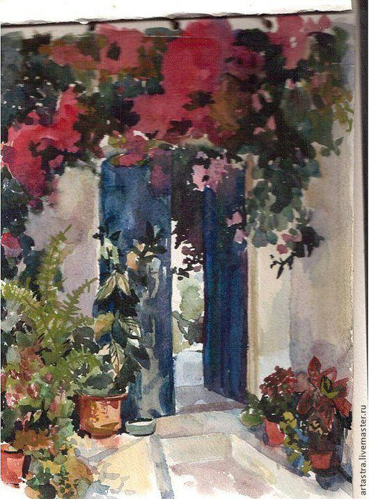 Пейзаж ручной работы. Ярмарка Мастеров - ручная работа. Купить двери сада. Handmade. Картина, цветы, акварель, южный, пейзаж
