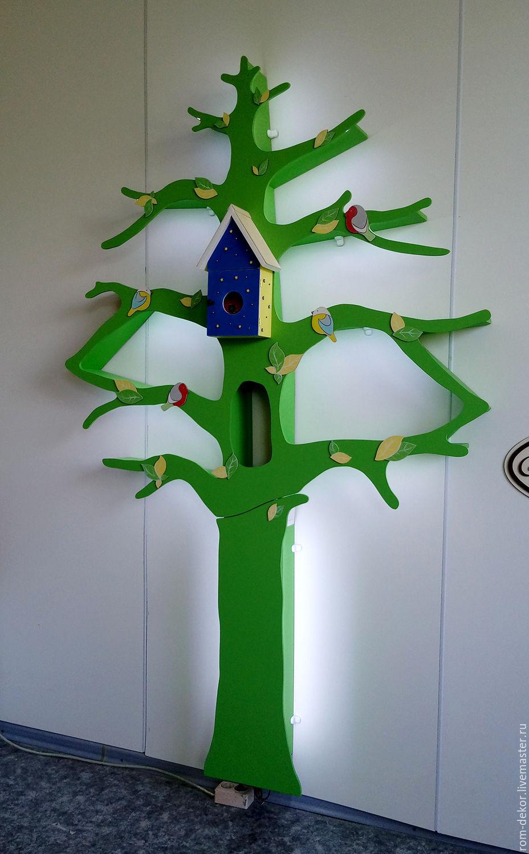 Детская ручной работы. Ярмарка Мастеров - ручная работа. Купить Зеленое дерево-стеллаж с подсветкой. Handmade. Зеленый, оформление детской