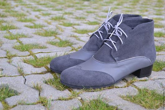 Обувь ручной работы. Ярмарка Мастеров - ручная работа. Купить Ботиночки комбинированные на каблучке. Handmade. Темно-серый, Каблук