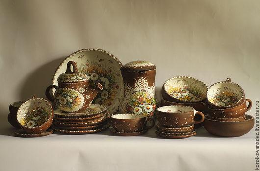 Кухня ручной работы. Ярмарка Мастеров - ручная работа. Купить Кухонный сервиз керамический (майолика). Handmade. Сервиз, посуда из керамики