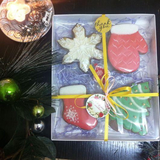 Кулинарные сувениры ручной работы. Ярмарка Мастеров - ручная работа. Купить Набор новогодних имбирных пряников. Handmade. Имбирное печенье