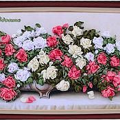 """Картины и панно ручной работы. Ярмарка Мастеров - ручная работа """"Розы для любимой""""-вышивка лентами. Handmade."""