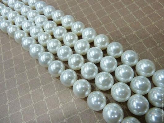 Жемчуг белый 8-14 мм Shell Pearl бусина шар. Жемчужные бусины для колье, бусины из жемчуга фриформ для браслетов, бусина из жемчуга для серег.