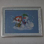 """Картины и панно ручной работы. Ярмарка Мастеров - ручная работа Вышитая картина """"Снеговики"""". Handmade."""