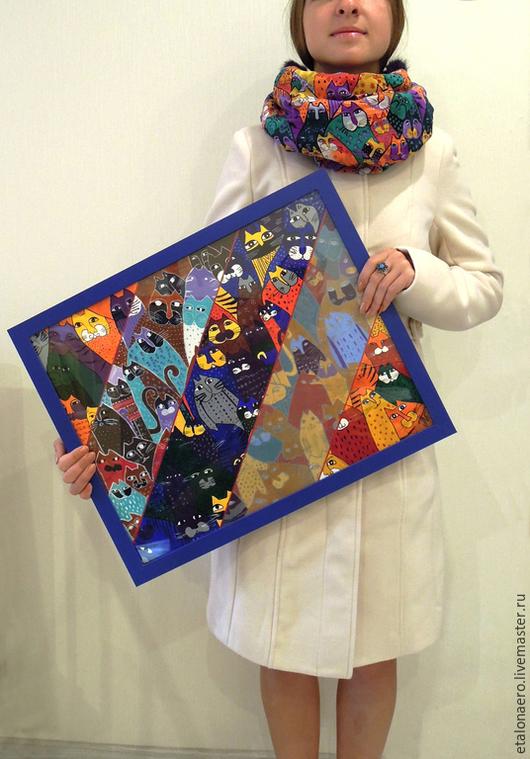 """Абстракция ручной работы. Ярмарка Мастеров - ручная работа. Купить Картина акрилом """"Котики"""". Handmade. Разноцветный, кот, коты, котики"""