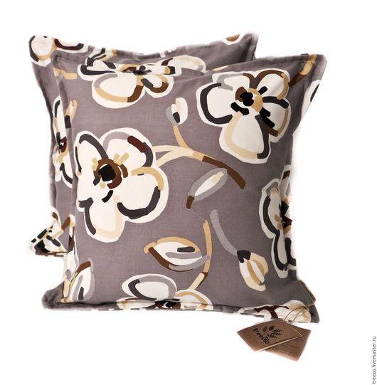 Текстиль, ковры ручной работы. Ярмарка Мастеров - ручная работа. Купить Пара очаровательных подушек. Handmade. Серый, 100% хлопок