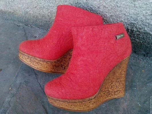 """Обувь ручной работы. Ярмарка Мастеров - ручная работа. Купить Эко сапожки из натуральной шерсти """"Тыковки"""". Handmade. Рыжий, оранжевый"""