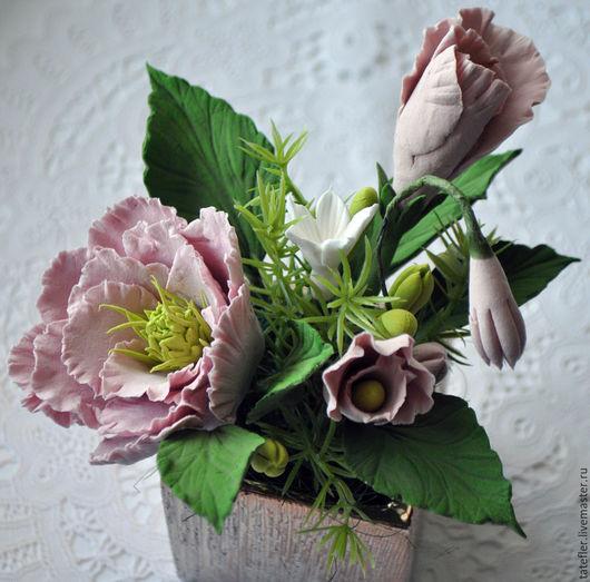 Цветы ручной работы. Ярмарка Мастеров - ручная работа. Купить Композиция с цветами. Handmade. Цветочная композиция, цветы, для интерьера