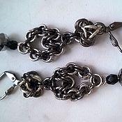 """Earrings handmade. Livemaster - original item Chain maille earrings """"Legita"""", brass, glass. Handmade."""