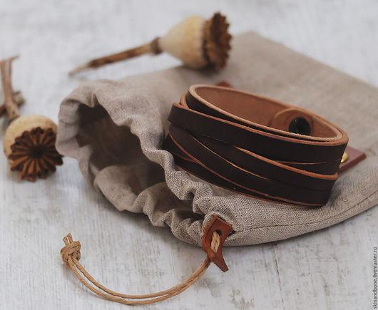 Пояса, ремни ручной работы. Ярмарка Мастеров - ручная работа. Купить Браслет из натуральной кожи. Handmade. Коричневый, модный аксессуар