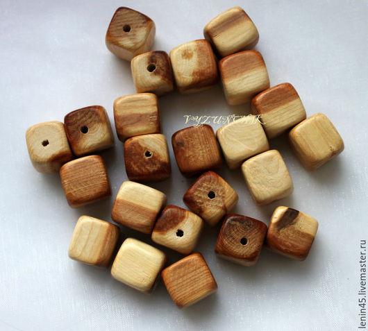 Для украшений ручной работы. Ярмарка Мастеров - ручная работа. Купить Можжевеловый кубик 15 мм. Handmade. Можжевеловые бусины