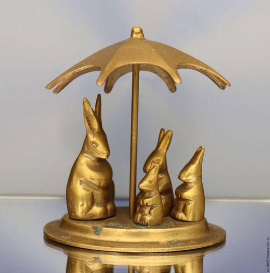 Винтажные предметы интерьера. Ярмарка Мастеров - ручная работа. Купить Заяц зонт кролик бронза латунь Англия 3. Handmade.