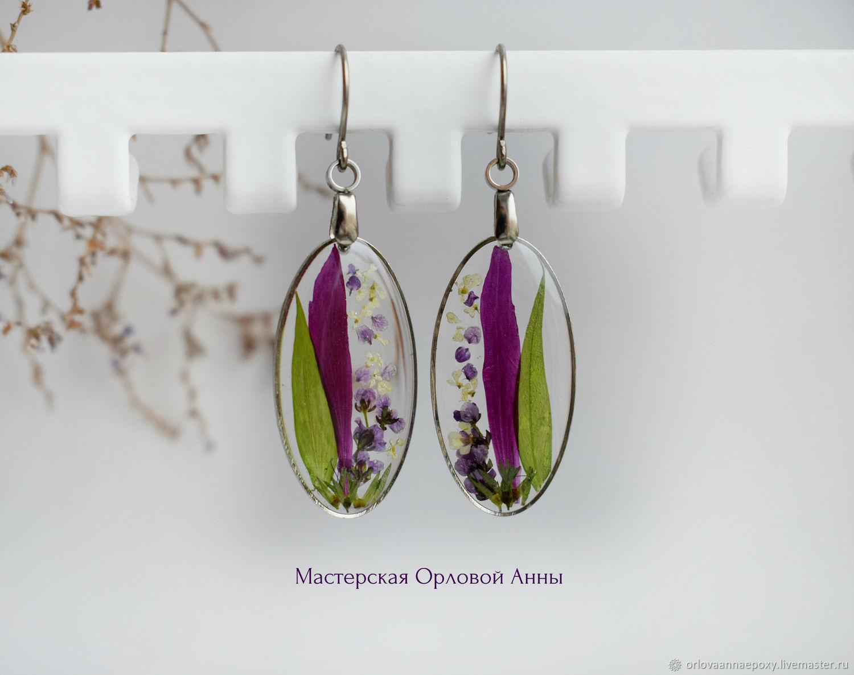 Transparent resin earrings with real flowers, Earrings, Engels,  Фото №1