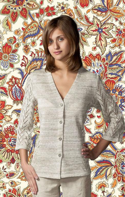 Купить женский вязаный джемпер из льна