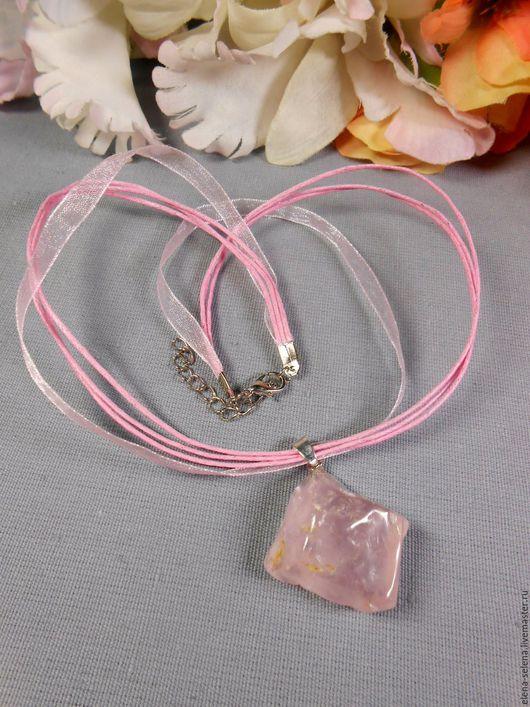 """Кулоны, подвески ручной работы. Ярмарка Мастеров - ручная работа. Купить Кулон """"Розовый лёд"""" из розового кварца. Handmade."""