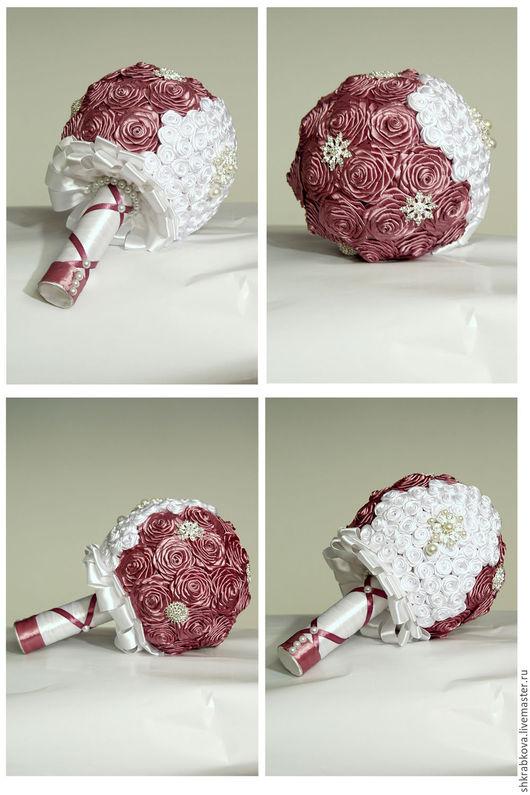 Свадебные цветы ручной работы. Ярмарка Мастеров - ручная работа. Купить свадебный букет невесты. Handmade. Розовый, букет из лент