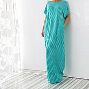Одежда ручной работы. Ярмарка Мастеров - ручная работа Бирюзовое в горошек летнее длинное пляжное макси платье, кафтан, абайя. Handmade.