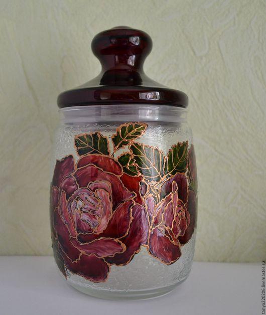 """Кухня ручной работы. Ярмарка Мастеров - ручная работа. Купить Баночка для сыпучих продуктов """"Благоухание роз"""". Handmade. Бордовый"""