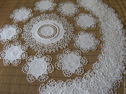 Текстиль, ковры ручной работы. Ярмарка Мастеров - ручная работа. Купить комплект льняных салфеток. Handmade. Белый, праздничный стол