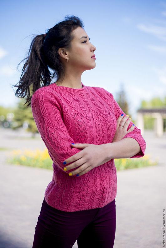 """Кофты и свитера ручной работы. Ярмарка Мастеров - ручная работа. Купить Пуловер кашемировый """"Роза"""". Handmade. Розовый, женский свитер"""