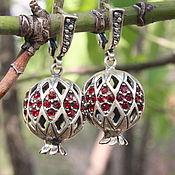 Украшения handmade. Livemaster - original item Classic Garnet earrings with zircons made of 925 GA0050 silver. Handmade.
