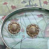 Винтаж handmade. Livemaster - original item Caprice. Golden Sunflower Earrings. Handmade.