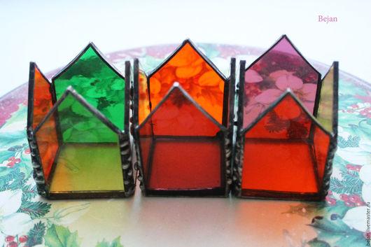 Подсвечники ручной работы. Ярмарка Мастеров - ручная работа. Купить Подсвечники из цветного стекла Bejan. Handmade. Комбинированный, цветное, любовь