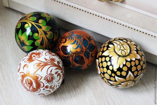 Подвески ручной работы. Ярмарка Мастеров - ручная работа. Купить Новогодние шарики Хохлома. Handmade. Хохлома, шарики, новогодний подарок